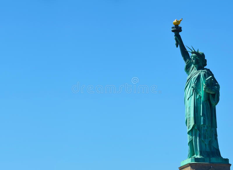 Side view of the Statue of Liberty in NY royalty free stock photo