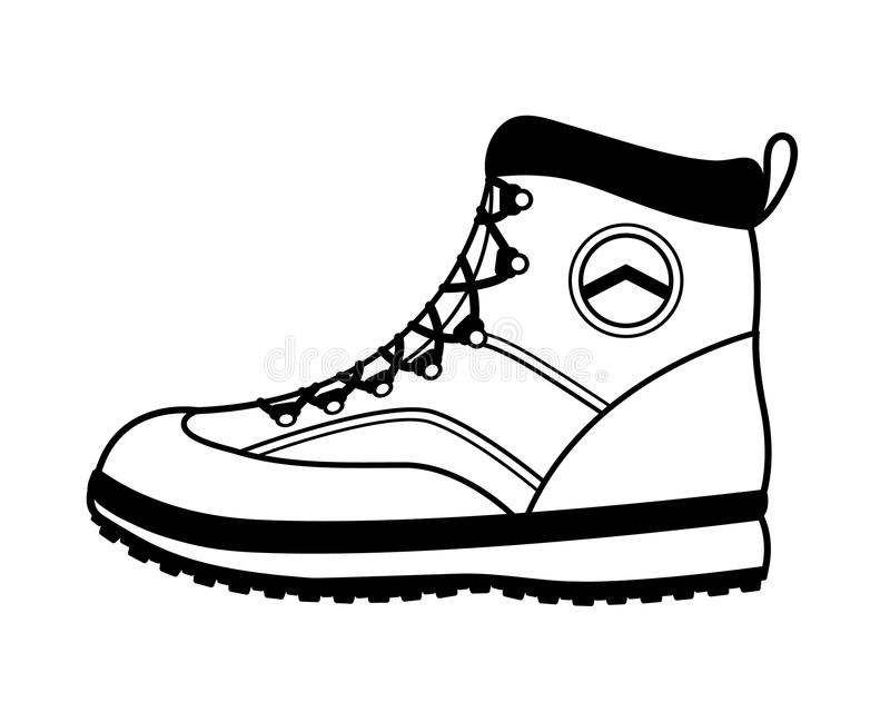 Vector hiking boot icon in black and white. Side view of a sturdy vector hiking boot with a durable rubber sole and laces for hiking, trekking, mountain climbing stock illustration