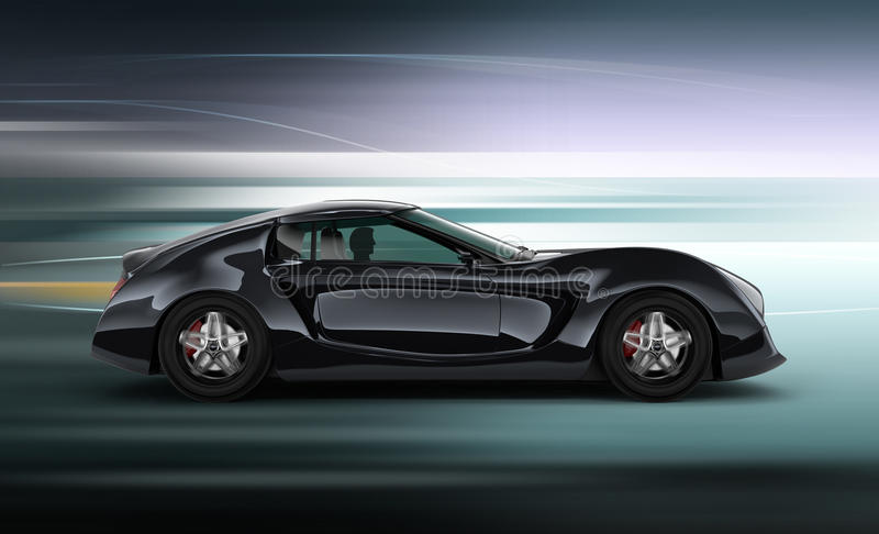 Side view of stylish black sports car with motion blur background. 3D rendering image in original design stock illustration
