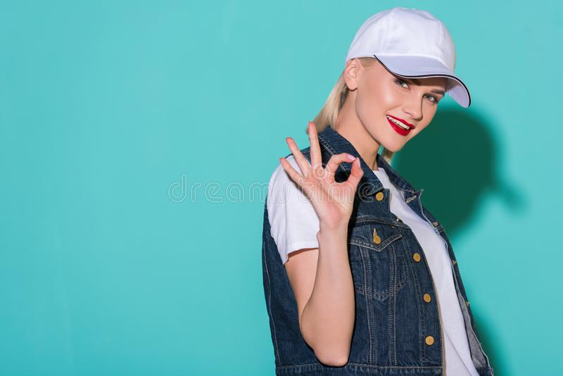 side view of stylish young woman royalty free stock photo