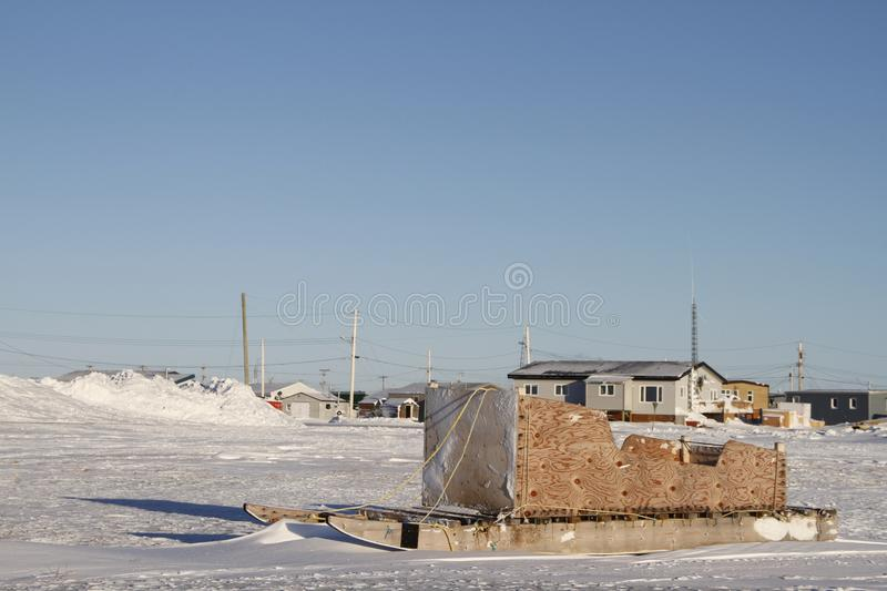 Side view of a traditional Inuit cargo sled or Komatik in the Arviat style in the Kivalliq region. Nunavut Canada royalty free stock images