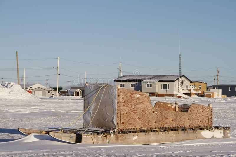 Side view of a traditional Inuit cargo sled or Komatik in the Arviat style in the Kivalliq region. Nunavut Canada stock photography
