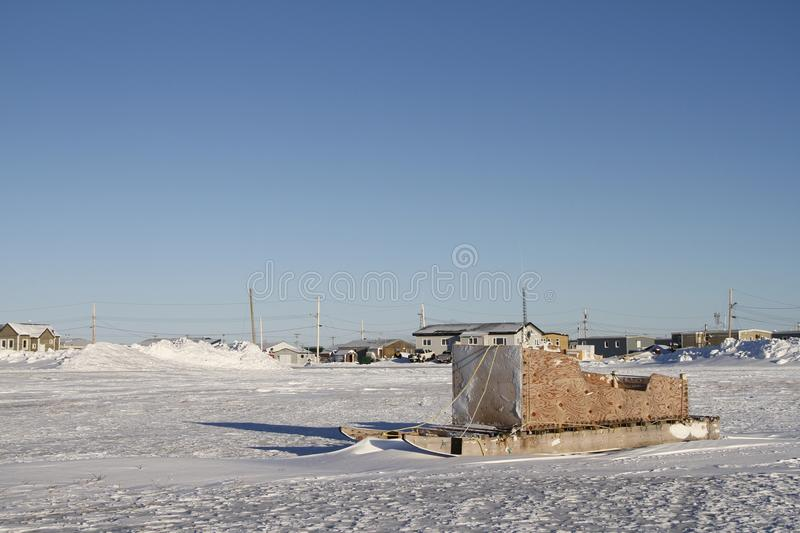 Side view of a traditional Inuit cargo sled or Komatik in the Arviat style in the Kivalliq region. Nunavut Canada stock photo