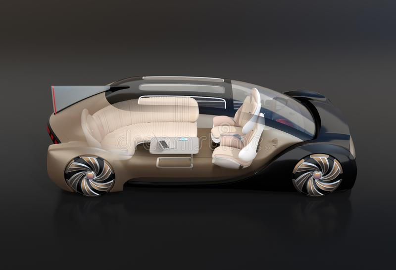 Side view of transparent self driving electric car on black background stock illustration