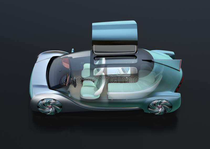 Side view of transparent self driving electric car on black background royalty free illustration