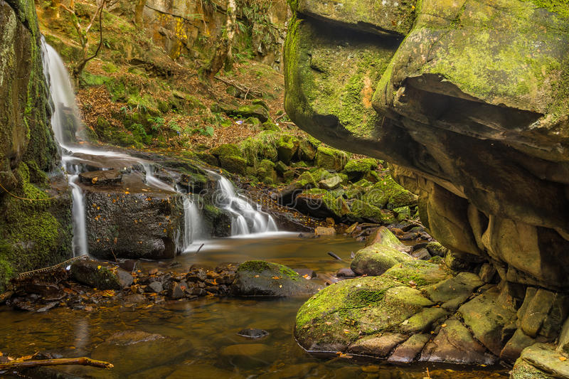 Side View Of Trickling Waterfall In Woodland Environment. A side view of Jepson's Clough waterfall in Rivington, Lancashire, UK. The waterfall can be seen with royalty free stock images