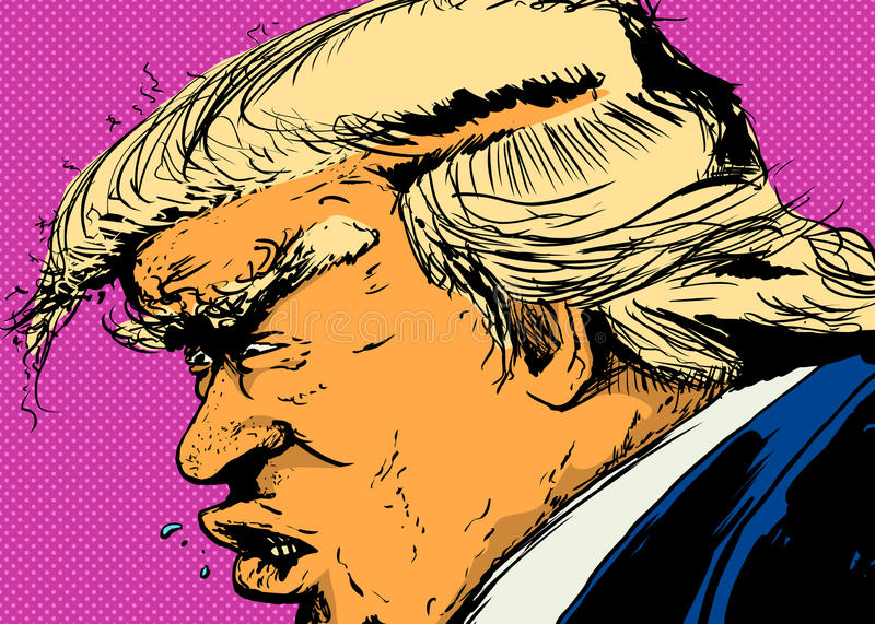 Side View of Trump Over Pink royalty free illustration
