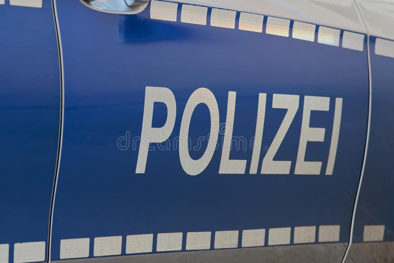 Side view of a typical German police car: `Polizei` stock images