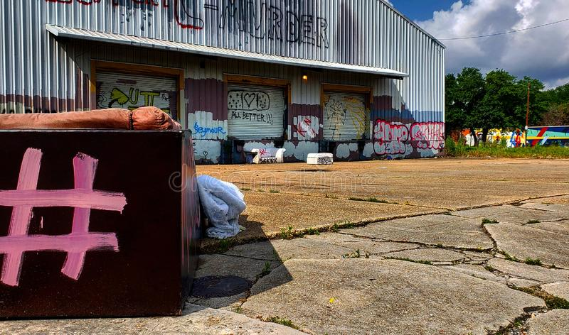 Side view urban life. Nola graffiti stock photography