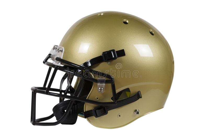 Side view of Vegas Gold American football helmet isolated on white with clipping path royalty free stock photo
