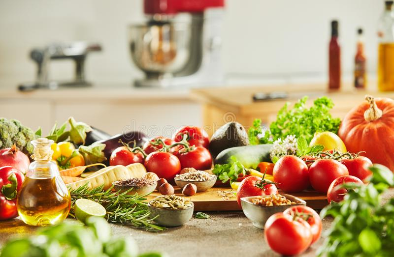 Side view of vegetables covering cutting board royalty free stock images