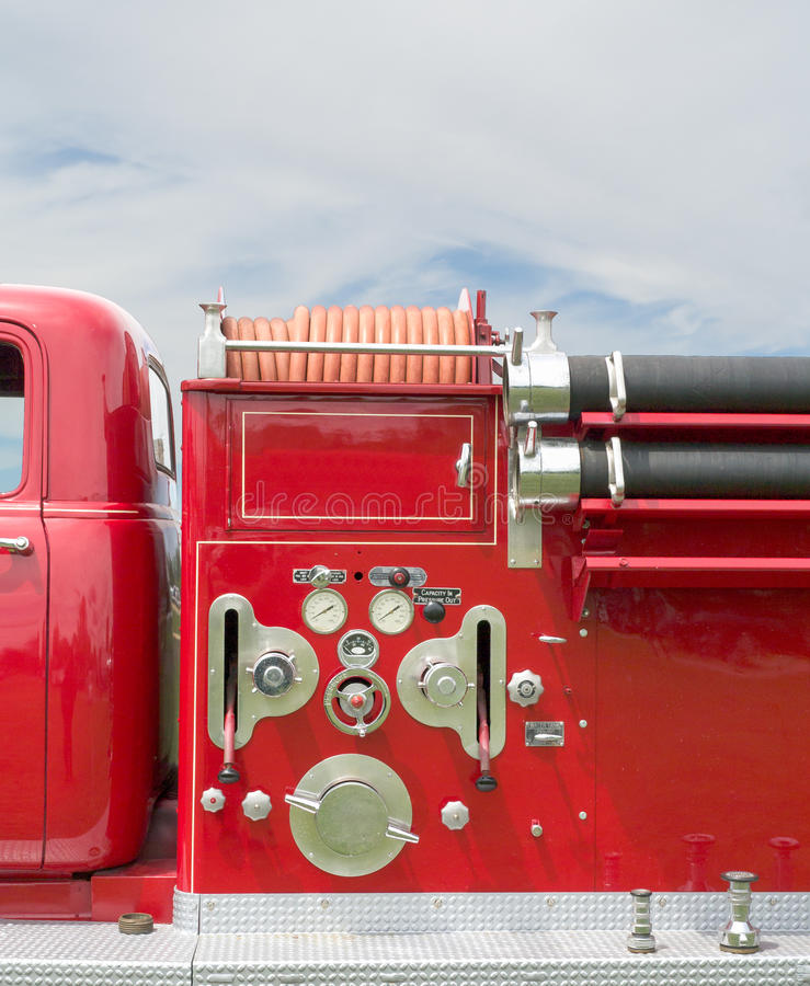 Download Side View Of A Vintage Fire Truck Stock Image