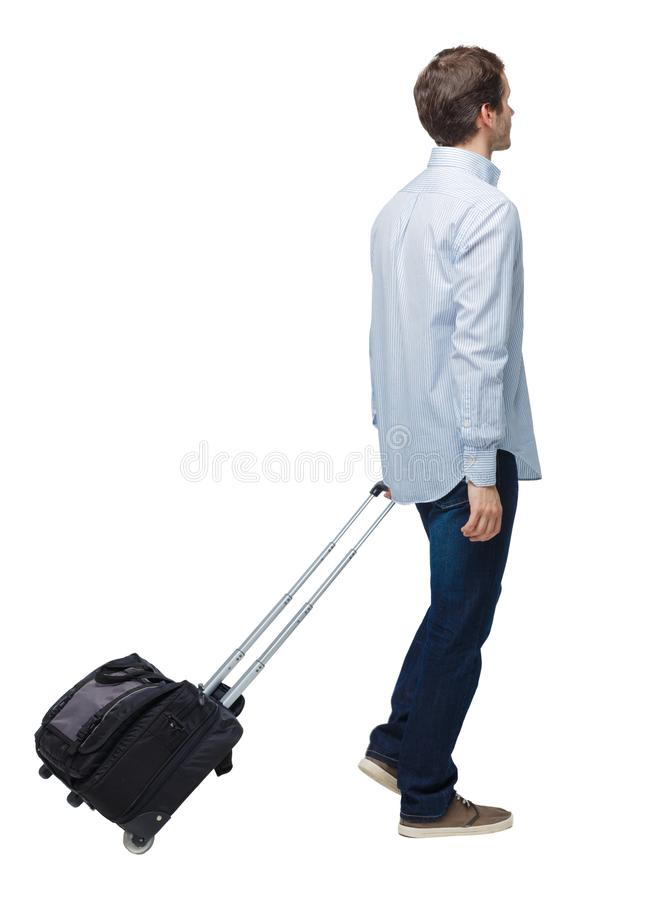 Side view of walking business man with suitcase talking on the phone. Standing young girl. Rear view people collection.  backside view of person. Isolated over stock image