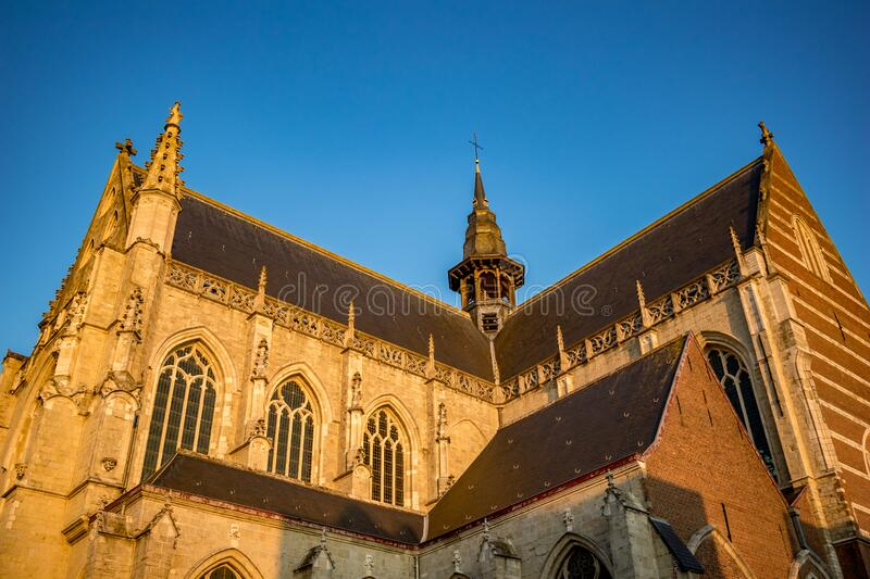 Church of Aalst, Belgium, beautiful afternoon. Side view, walls lit by falling sunlight of Collegiate Church Saint-Martin. Street image from below, clear blue stock photography