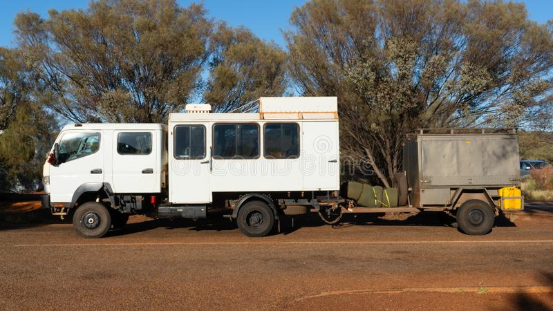 Side view of a 4WD safari truck in outback Australia royalty free stock photos