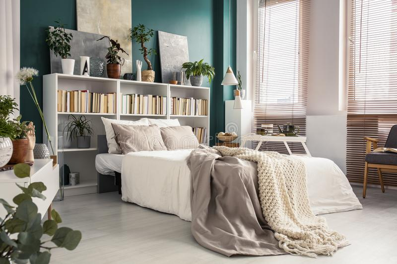 Side view of white bed stock photos