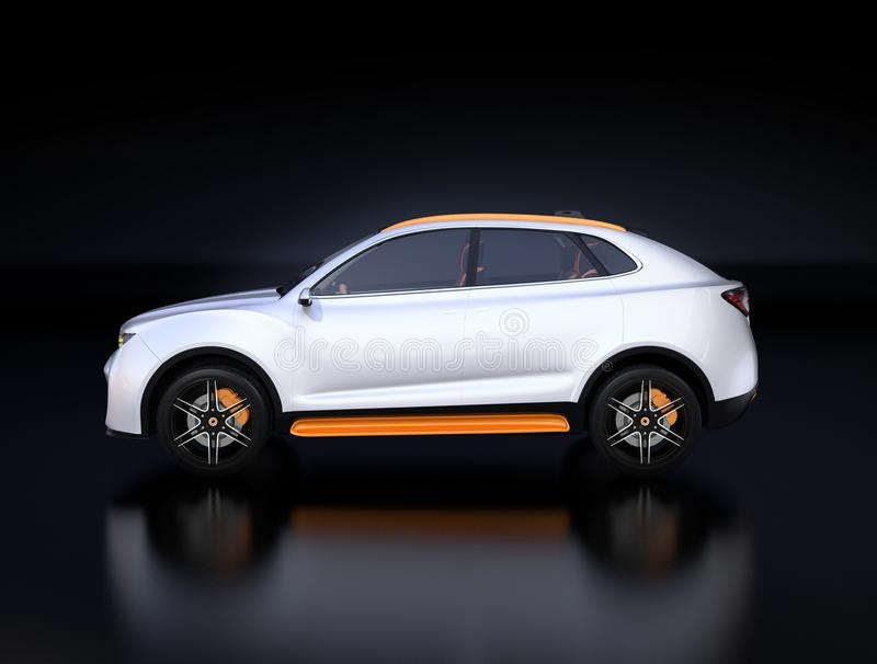 Side view of white Electric SUV concept car isolated on black background royalty free illustration