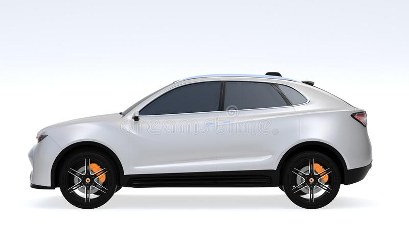 Side view of white Electric SUV concept car isolated on light gray background royalty free illustration