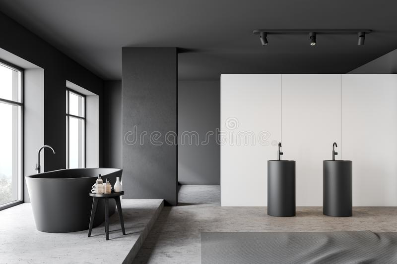 Side view of white and gray bathroom vector illustration
