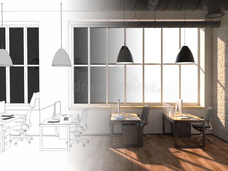 Side view of a white office of a company with a two large table, two computers standing on them, a panoramic window and royalty free stock photo