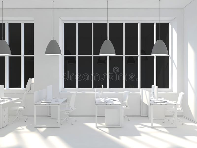 Side view of a white office of a company with a two large table, two computers standing on them, a panoramic window and royalty free stock image
