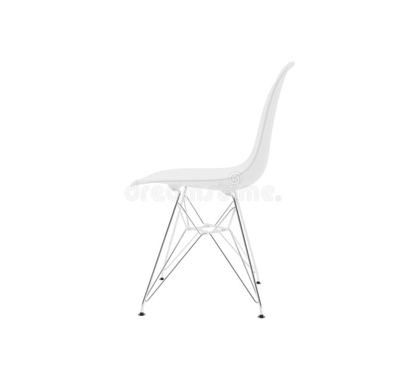 Side view. White plastic dining chair stock photo
