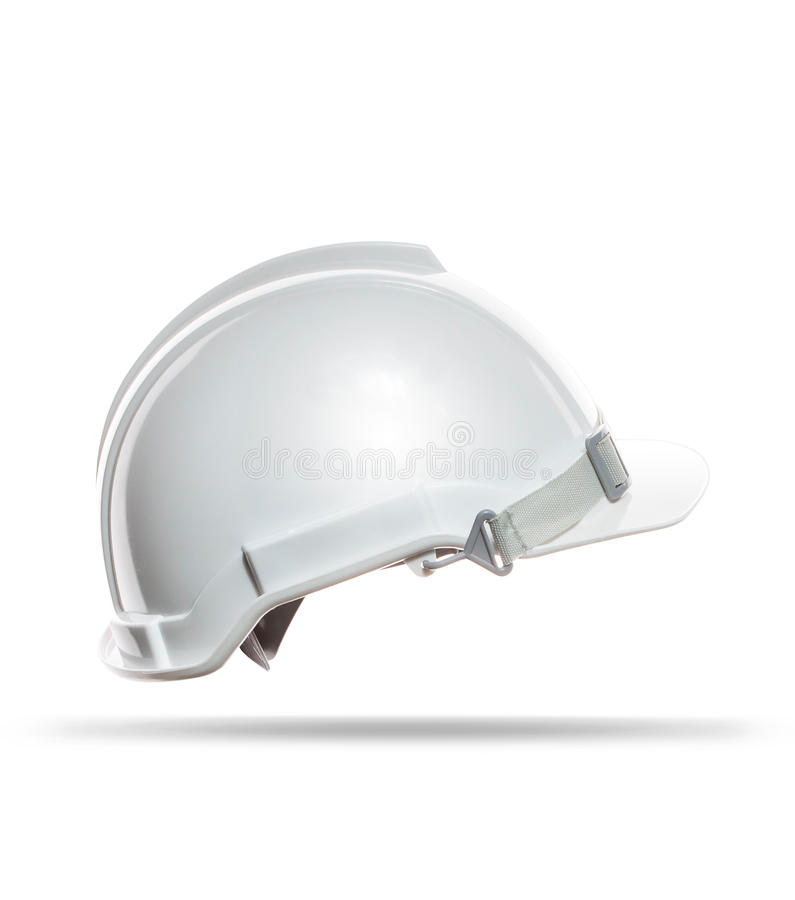Side view of white safety helmet isolated background royalty free stock images