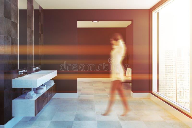 Wooden twin sink vanity unit, tiled bathroom blur royalty free stock photo