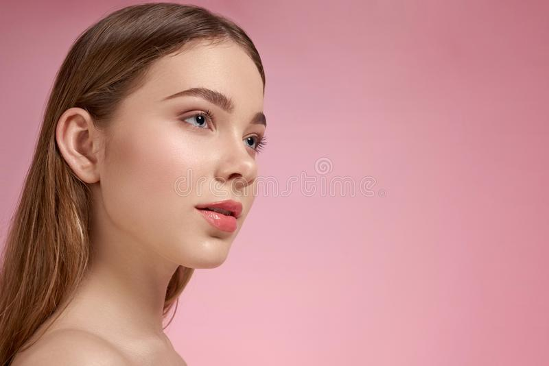 Side view of woman with perfect skin without wrinkles royalty free stock photos