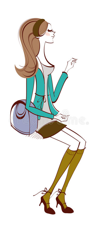 Download Side view of woman stock vector. Illustration of painted - 30626197
