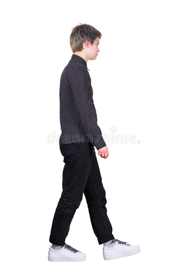 Side view woman walking royalty free stock photography