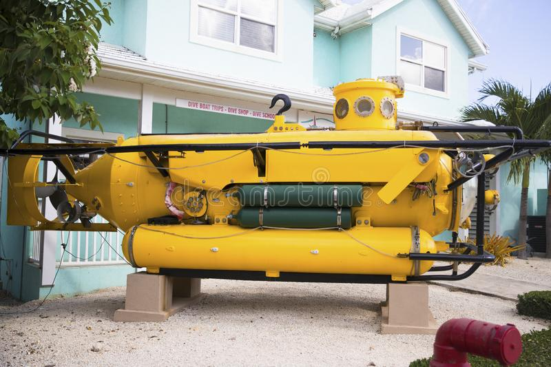 Side view of Yellow Submarine. From the Grand Cayman Islands royalty free stock images