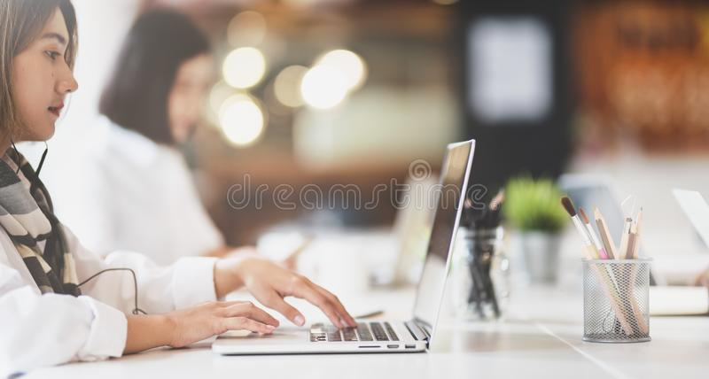 Beautiful business woman working on her project royalty free stock images