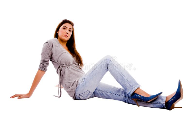 Download Side View Of Young Female Looking At Camera Stock Image - Image of fashion, figure: 7823335