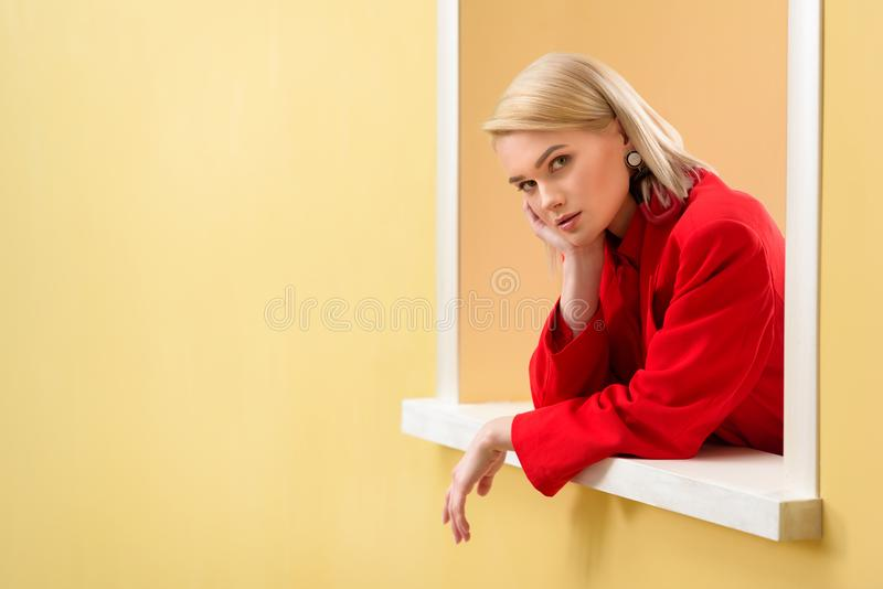 side view of young stylish woman stock image