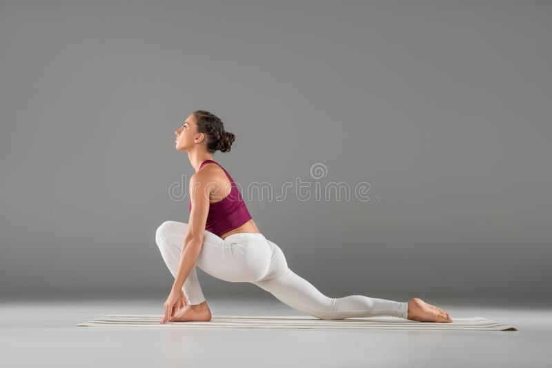 side view of young woman stock photo
