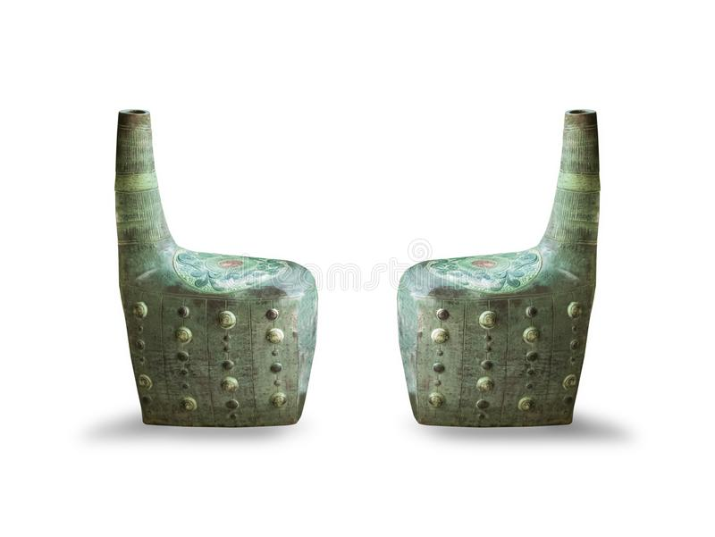 Side of the vintage green chair,isolated on white background. With clipping path stock image