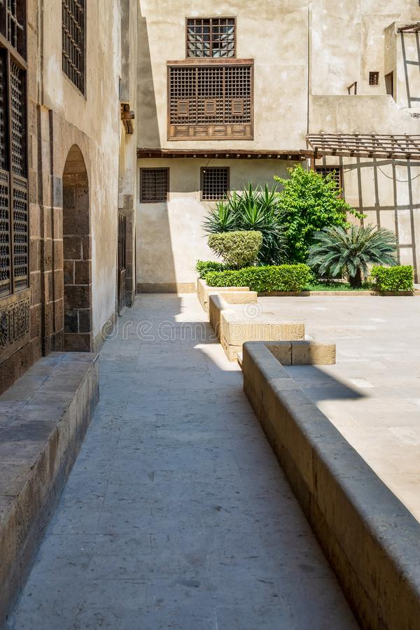 Side walk outside historic Beit El Sehemy house, Cairo, Egypt. Passage surrounding historic Beit El Sehemy house located in Moez street, Gamalia district, Old stock image