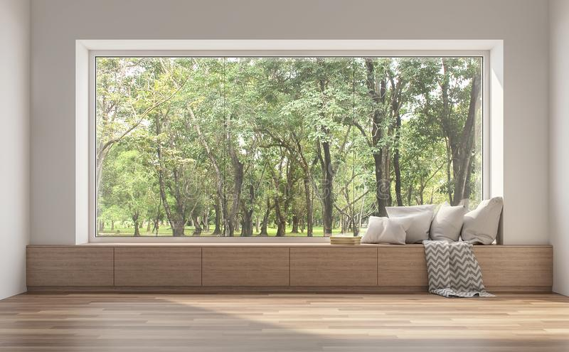Side window seat with nature view 3d render royalty free illustration