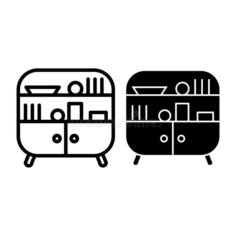 Sideboard line and glyph icon. Cabinet vector illustration isolated on white. Cupboard outline style design, designed royalty free illustration