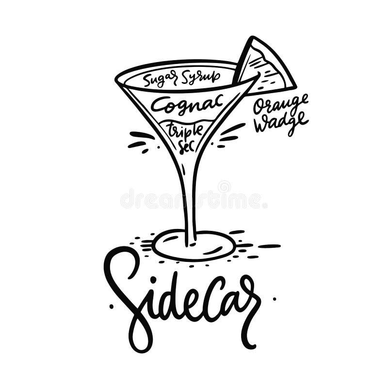 Sidecar de cocktail et ses ingr?dients dans le style de cru Illustration de vecteur d'aspiration de main illustration de vecteur