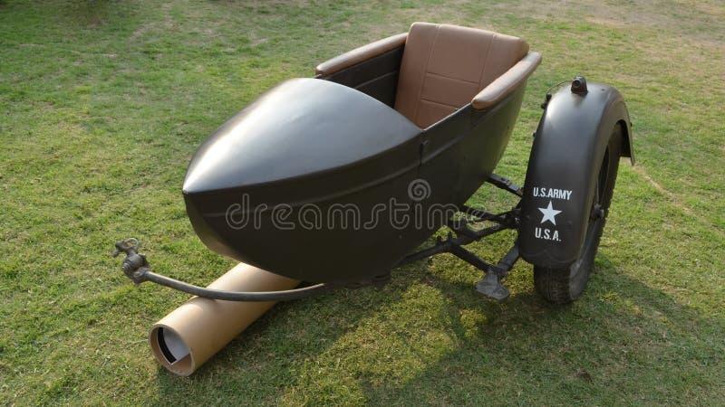 Sidecar del motociclo dell'esercito americano di WWII fotografia stock