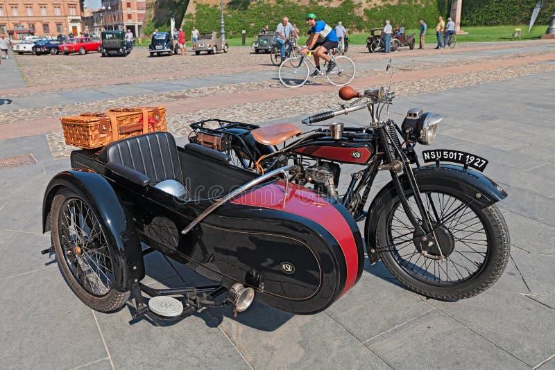 Sidecar motorfiets NSU 501 T (1927) stock fotografie