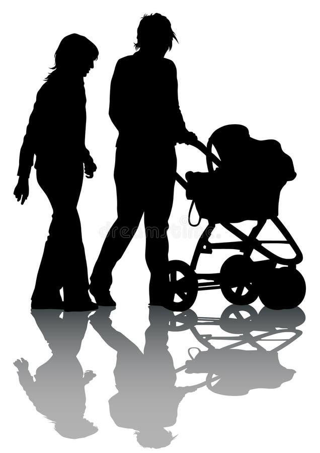 Sidecar van de familie bij het lopen stock illustratie