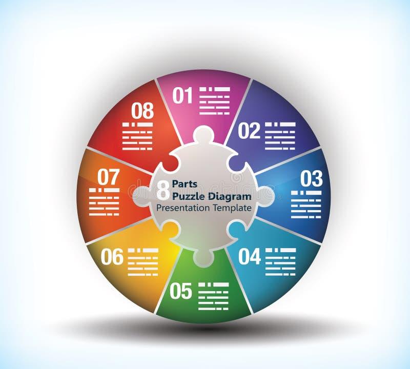 8 sided business wheel chart stock illustration