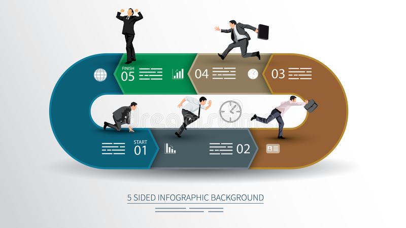 5 sided infographics background vector illustration