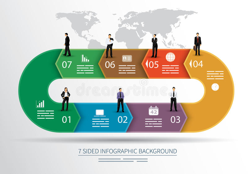 7 sided infographics background royalty free illustration