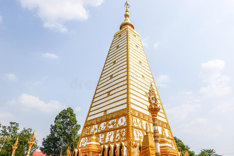 4-sided shape pagoda : architecture landscape of white and gold pagoda at wat Phrathat Nong Bua in Ubon Ratchathani, Thailand. 4-sided shape pagoda royalty free stock photos