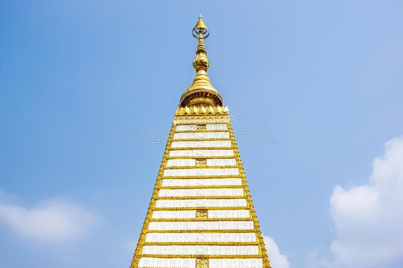 4-sided shape pagoda : architecture landscape of white and gold pagoda at wat Phrathat Nong Bua in Ubon Ratchathani. Province, Thailand stock photos
