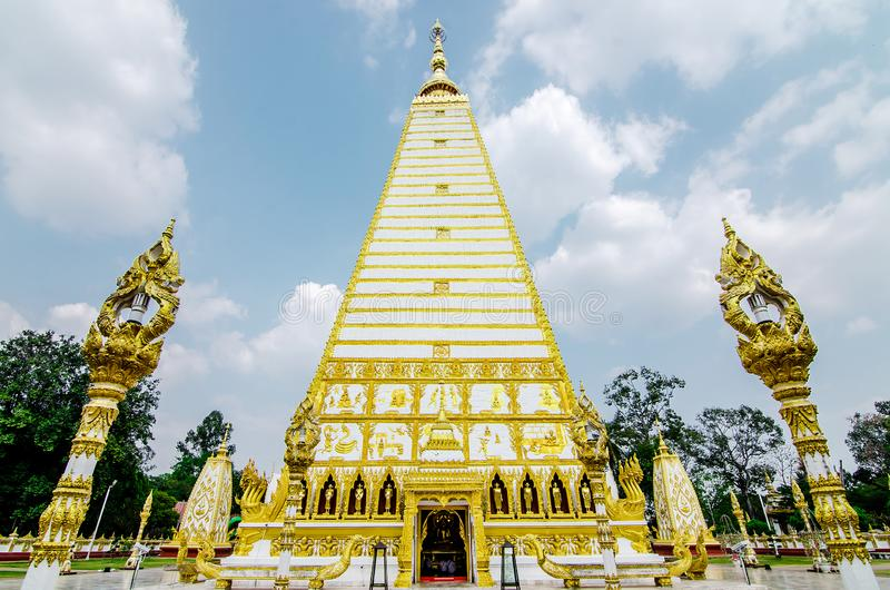 4-sided shape pagoda : architecture landscape of white and gold pagoda at wat Phrathat Nong Bua in Ubon Ratchathani province,. Thailand royalty free stock photo